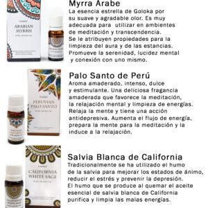 Set 12 Aceites Aromáticos Goloka: Rosa, Mirra, Sándalo, Almizcle Blanco, Salvia Blanca, Lavanda, Menta, Ruda, Patchouli, Palo Santo, Citronella y Romero
