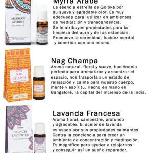 Set 3 Aceites Aromáticos Goloka: Mirra, Lavanda y Nag Champa