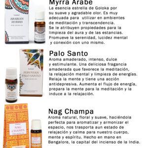 Set 6 Aceites Aromáticos Goloka: Mirra, Sándalo, Salvia Blanca, Almizcle Blanco, Palo Santo y Nag Champa
